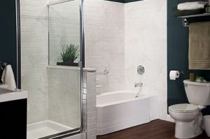 bathtub beside shower area